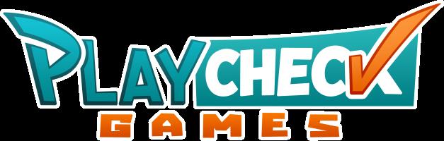 Playcheck Wordmark Gradient White Border